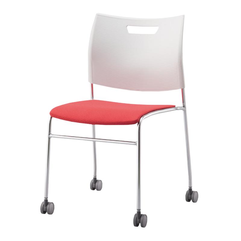 ミーティングチェア スタッキングチェア 学校教育用椅子 4本脚 スチール メッキ脚 キャスター付き 背樹脂 座レザー | I-CDA-4PCM