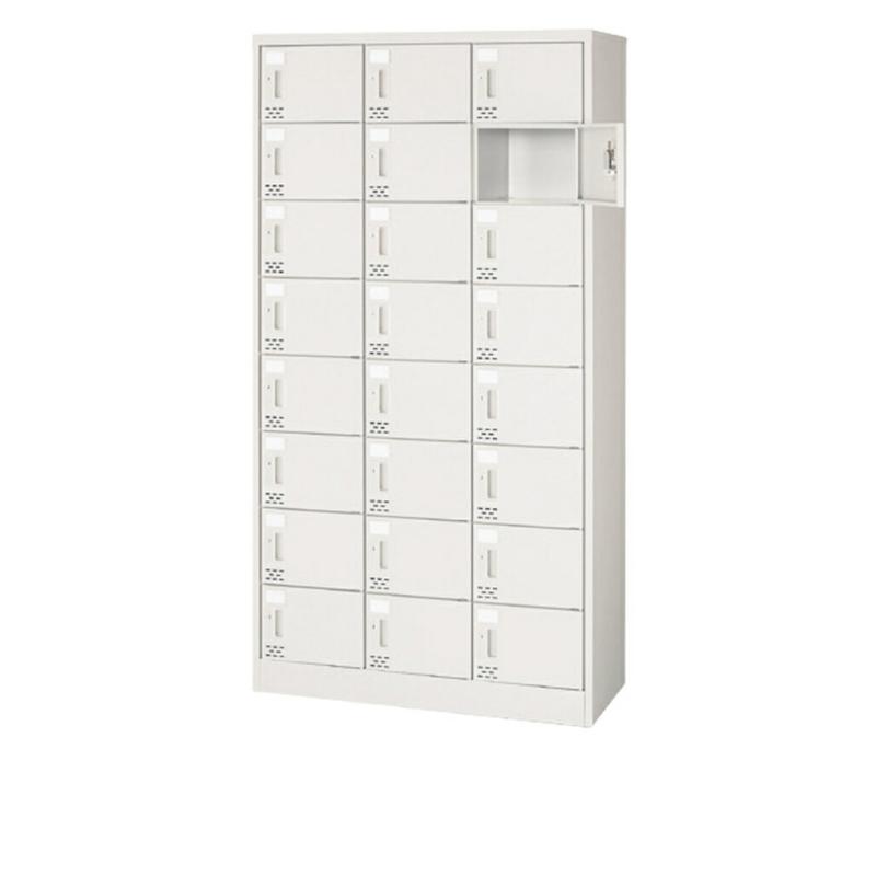 シューズボックス 下駄箱 3列8段 24人用 錠付き シリンダー錠タイプ | I-SC-24PA