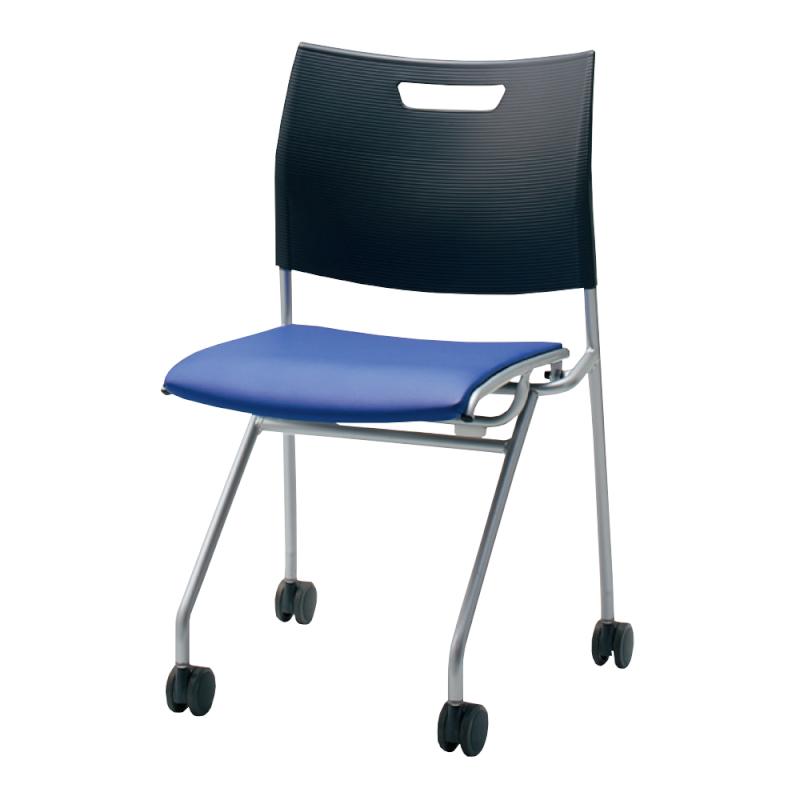 ミーティングチェア ネスティングチェア 学校教育用椅子 キャスター脚 スチール シルバー 塗装脚 キャスター付き 背樹脂 座レザー   I-CDA-NP