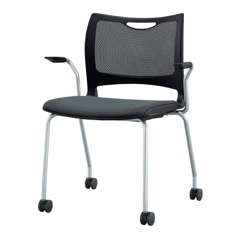 ミーティングチェア 会議用椅子 4本脚 スチール シルバー 塗装脚 肘付き 布 | I-MC4CA-02-F