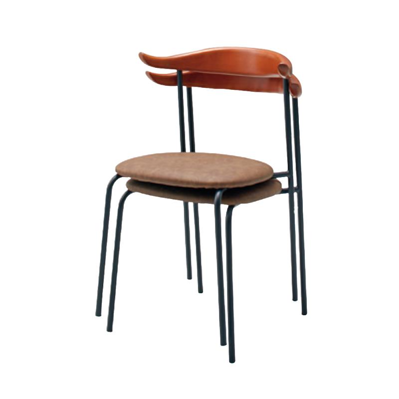 ミーティングチェア 木製チェア ラウンジ用椅子 4本脚 スチール ブラック 塗装脚 座パッド付き レザー | I-ACTEC-62