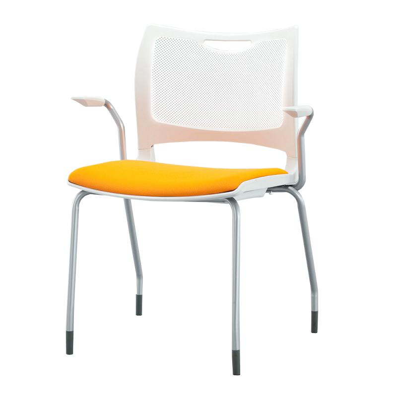 ミーティングチェア 会議用椅子 4本脚 スチール シルバー 塗装脚 肘付き 布 | I-MC4A-02-F