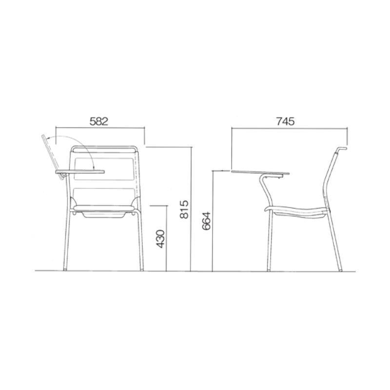 ミーティングチェア スタッキングチェア メッキ脚 メモ台付き 背メッシュ グレー 布 | I-DMF25M-SJN