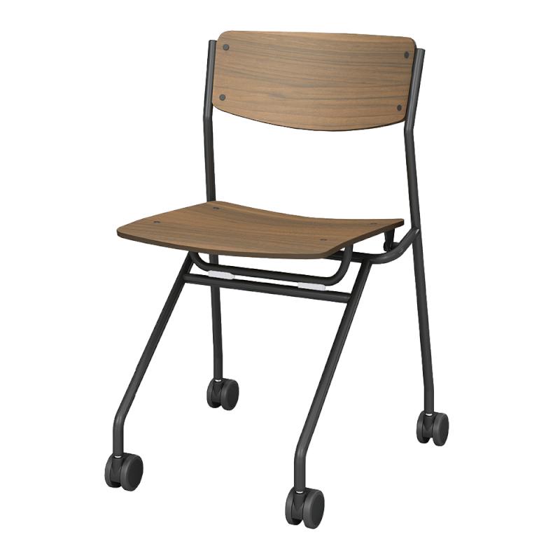 ミーティングチェア ネスティングチェア 会議用椅子 キャスター脚 スチール ブラック 塗装脚 キャスター付き 木 | I-ESC-N-B