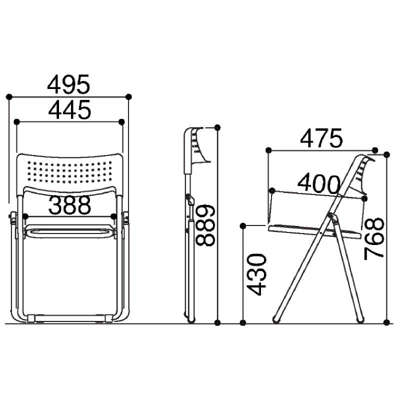 折りたたみ椅子 パイプ椅子 超軽量 2.4kg アルミ脚 | 【5脚セット】 I-SS-A027N