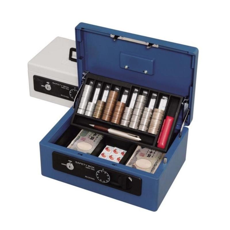 金庫 手提げ金庫 キャッシュボックス ダイヤル錠+シリンダー錠式 卓上 B5サイズ | I-SBX-B5