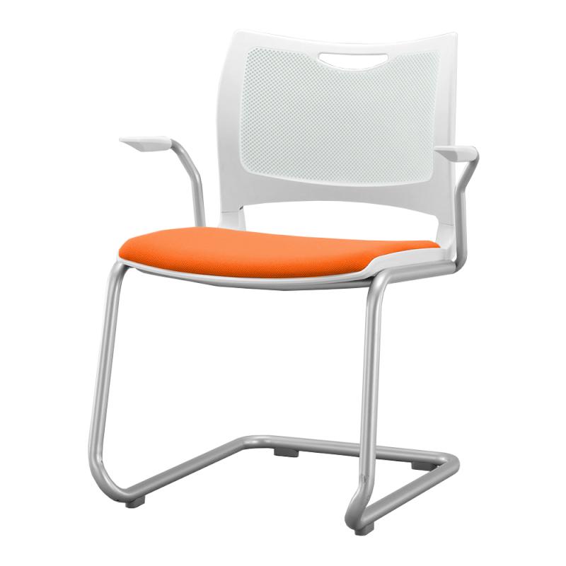 ミーティングチェア 会議用椅子 カンチレバー脚 スチール シルバー 塗装脚 肘付き 布 | I-MCCA-02-F