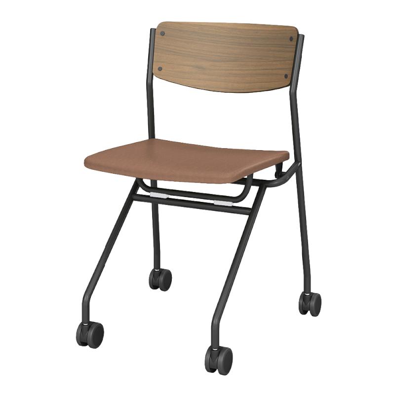 ミーティングチェア ネスティングチェア 会議用椅子 キャスター脚 スチール ブラック 塗装脚 キャスター付き 座パッド付き レザー | I-ESC-NP-B-GSL
