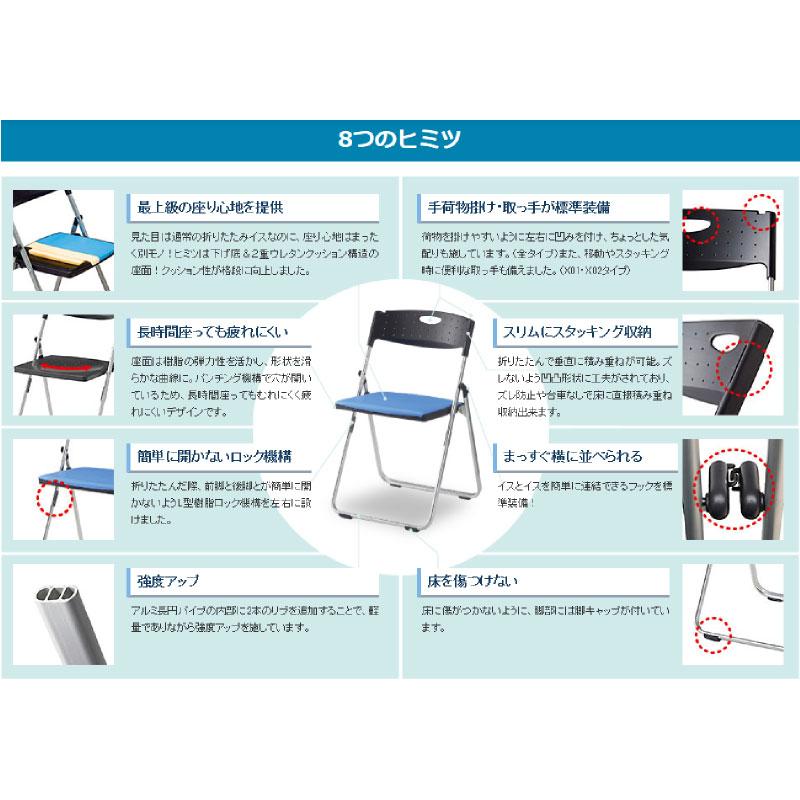 折りたたみ椅子 パイプ椅子 軽量 4.4kg スチール脚   【5脚セット】 I-CAL-XS02M-V