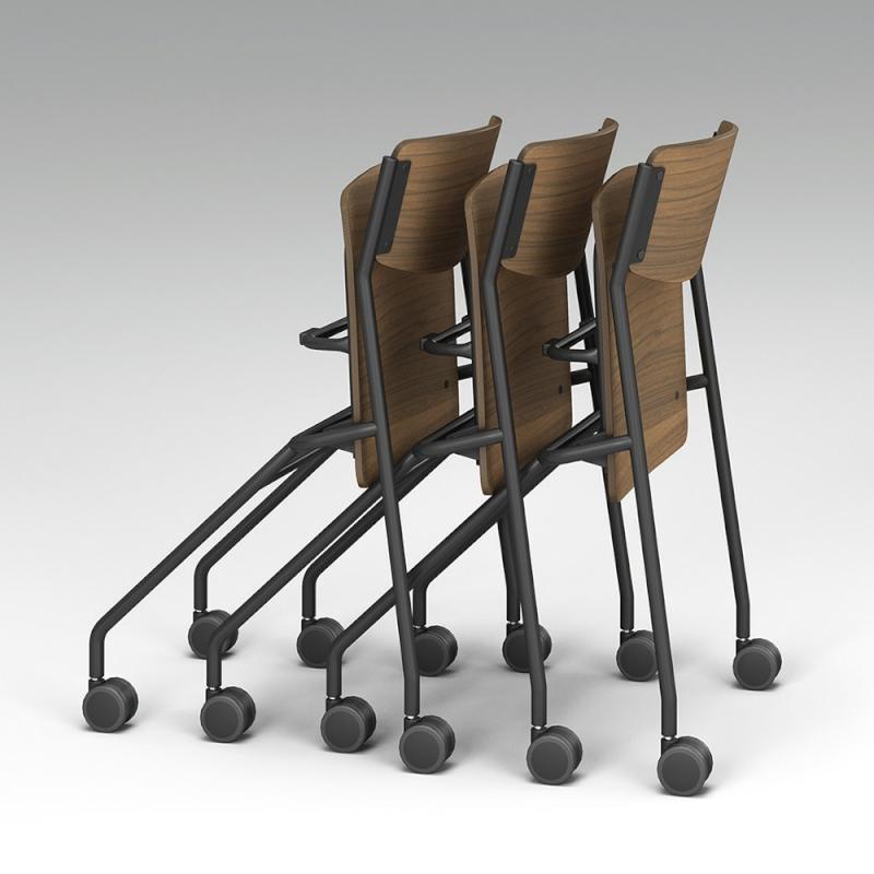 ミーティングチェア ネスティングチェア 会議用椅子 キャスター脚 スチール ブラック 塗装脚 キャスター付き 座パッド付き 布 | I-ESC-NP-B-UP