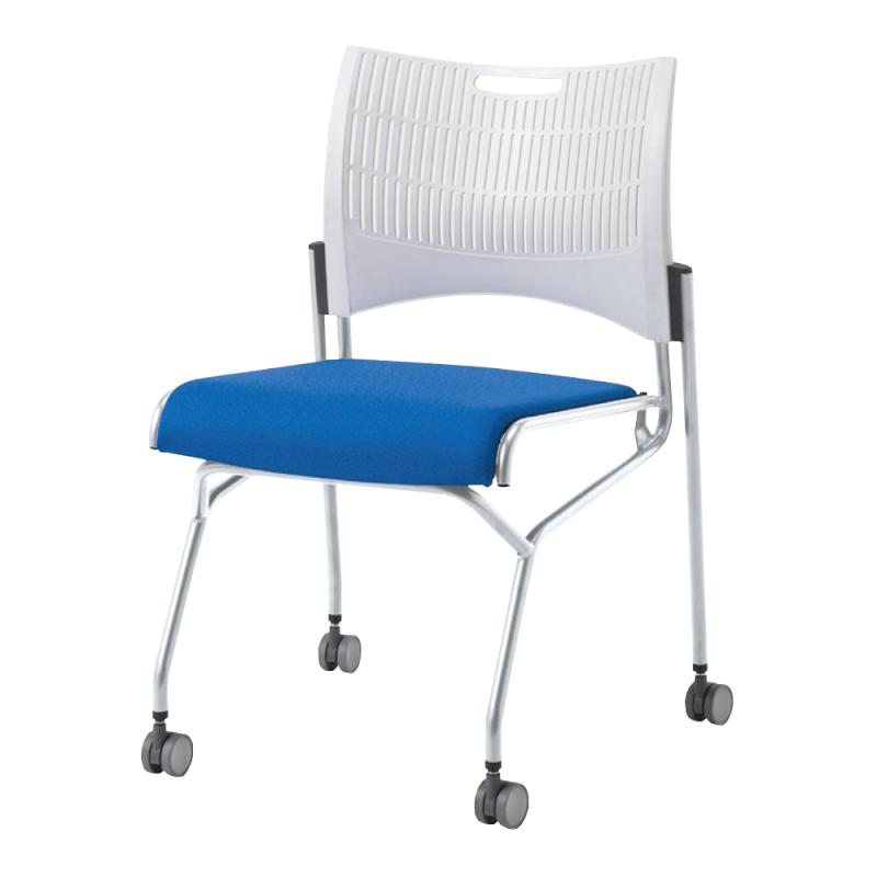 ミーティングチェア ネスティングチェア 会議用椅子 キャスター脚 スチール シルバー 塗装脚 キャスター付き シェルグレー レザー   I-DMC21N-G-LYL