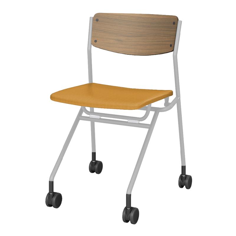 ミーティングチェア ネスティングチェア 会議用椅子 キャスター脚 スチール ホワイト 塗装脚 キャスター付き 座パッド付き 布 | I-ESC-NP-W-TIN