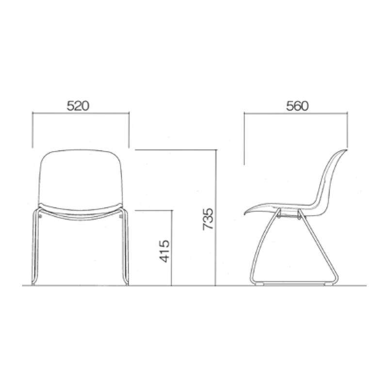 ミーティングチェア スタッキングチェア 学校教育用椅子 ループ脚 スチール メッキ脚 シェルブラック 樹脂 | I-DJR20B