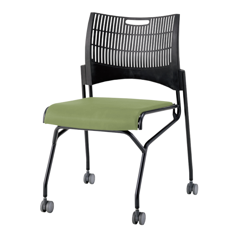 ミーティングチェア ネスティングチェア 会議用椅子 キャスター脚 スチール ブラック 塗装脚 キャスター付き シェルブラック レザー | I-DMC23N-B-LYL
