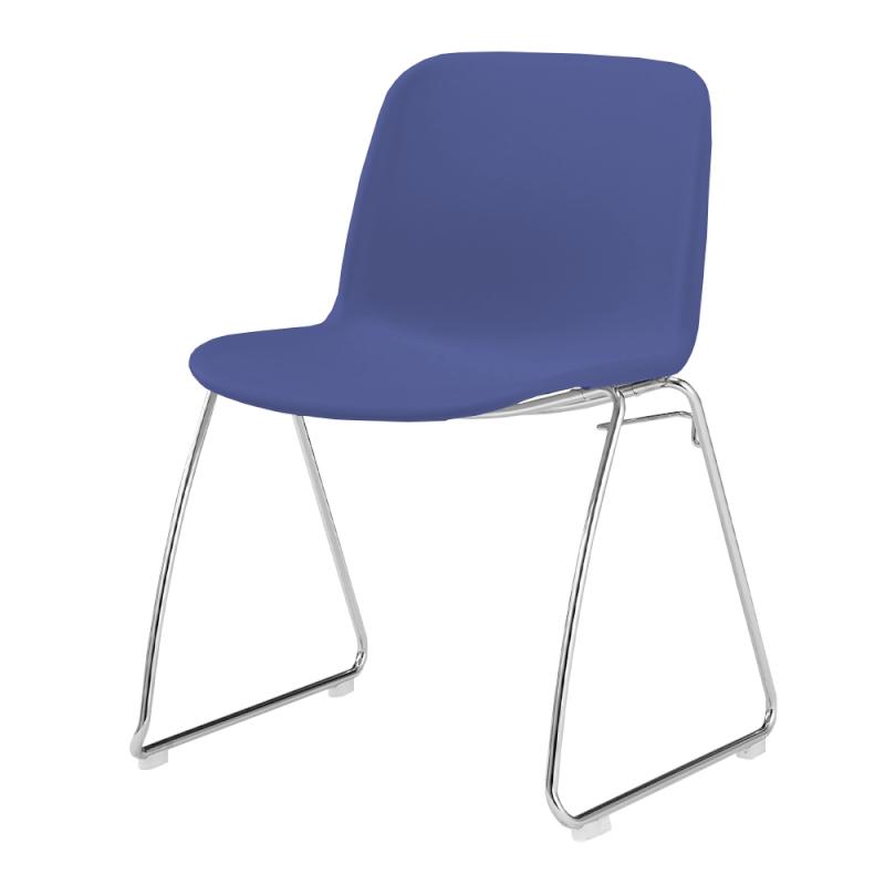 ミーティングチェア スタッキングチェア 学校教育用椅子 ループ脚 スチール メッキ脚 シェルブルー 樹脂   I-DJR20A