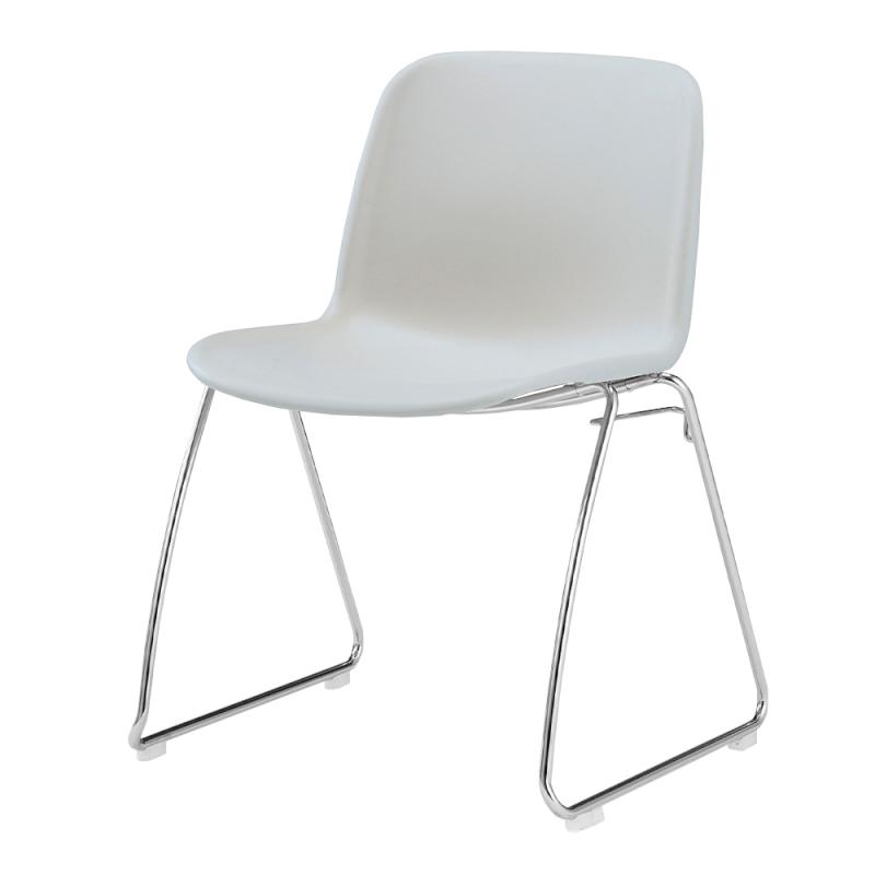 ミーティングチェア スタッキングチェア 学校教育用椅子 ループ脚 スチール メッキ脚 シェルライトグレー 樹脂 | I-DJR20L