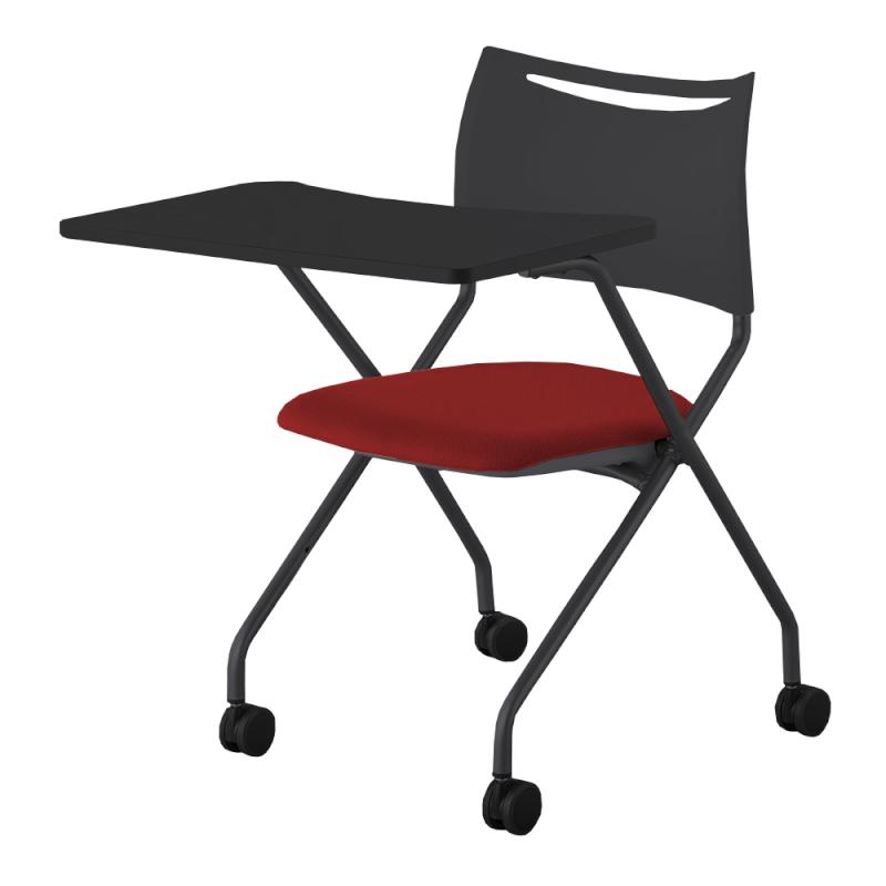 ミーティングチェア ネスティングチェア 会議用椅子 キャスター脚 スチール ブラック 塗装脚 キャスター付き 大型メモ台付き 布   I-LTS-4N-B-WMD-F