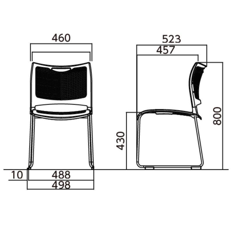 ミーティングチェア スタッキングチェア 会議用椅子 樹脂メッシュ メッキ脚 | I-MC-MKM01