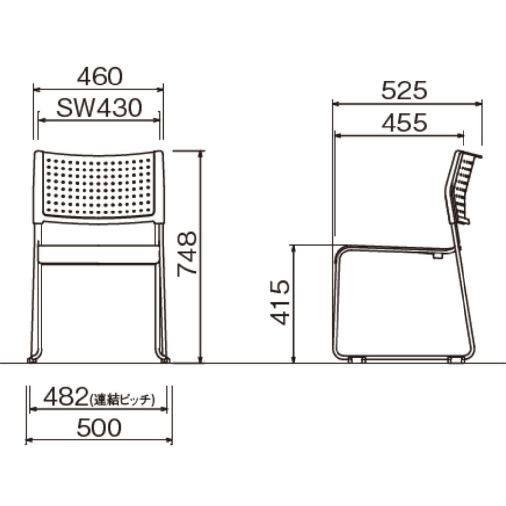 【ミーティングセット】 リーズナブル ミーティングテーブル 幅150cm×奥行75cm + ミーティングチェア 4脚 | I-SOT-1575PK-天WND-脚G+LTS-110Z×4