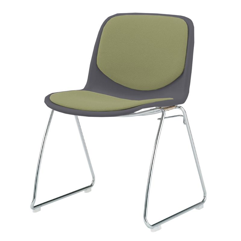 ミーティングチェア スタッキングチェア 学校教育用椅子 ループ脚 スチール メッキ脚 シェルブラック レザー | I-DJR201-LYL