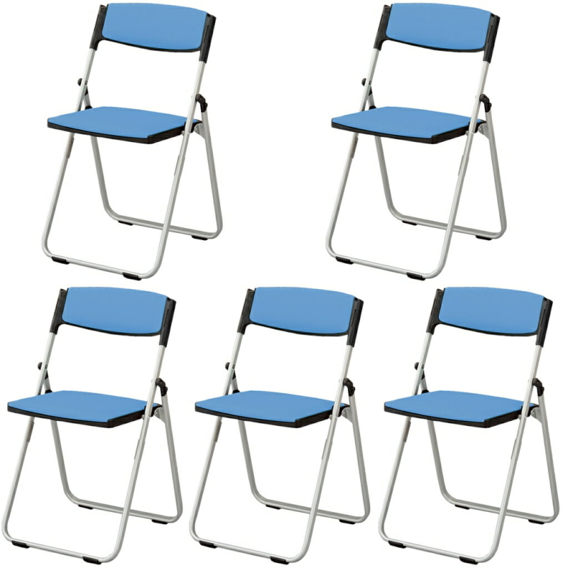 折りたたみ椅子 パイプ椅子 軽量 4.6kg コンパクト スチール脚 | 【5脚セット】 I-CAL-XS03S-V