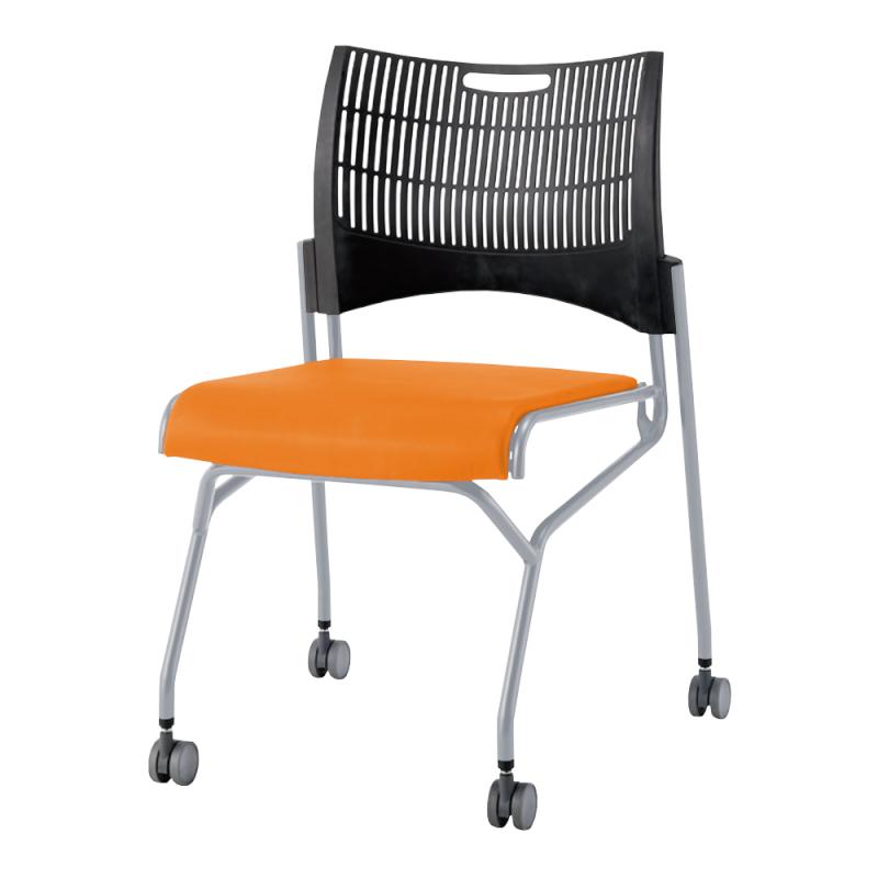 ミーティングチェア ネスティングチェア 会議用椅子 キャスター脚 スチール シルバー 塗装脚 キャスター付き シェルブラック 布 | I-DMC23N-G-PYN