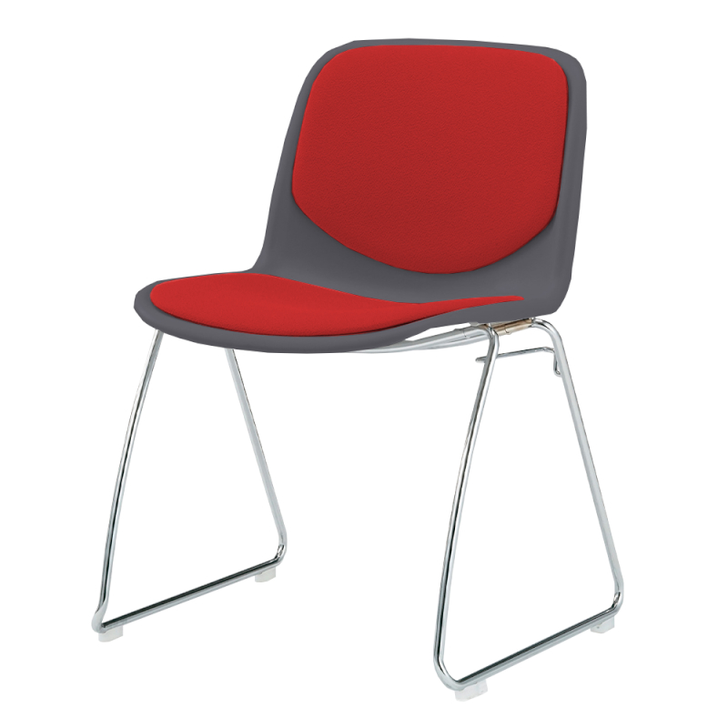 ミーティングチェア スタッキングチェア 学校教育用椅子 ループ脚 スチール メッキ脚 シェルブルー 上級布 | I-DJR201-PXN