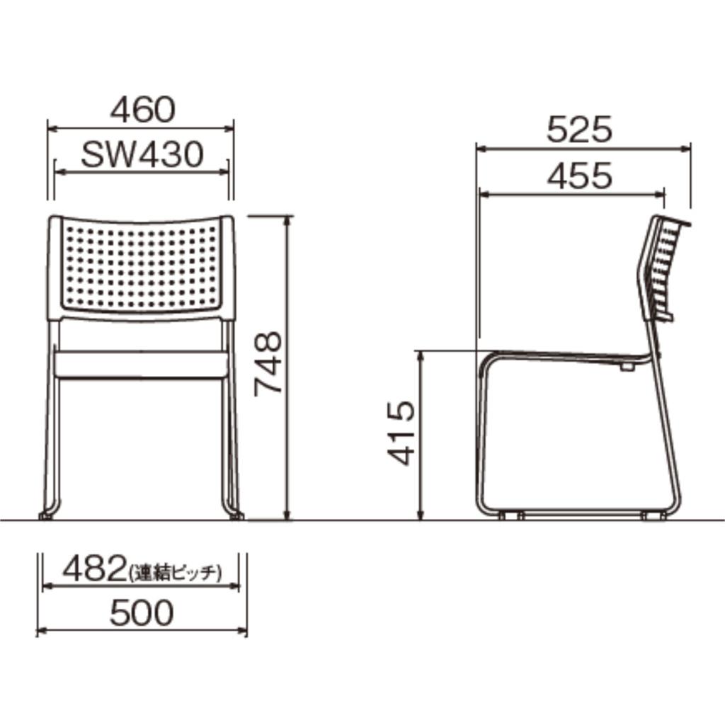 【ミーティングセット】 スタンダード ミーティングテーブル 幅120cm×奥行60cm + ミーティングチェア 4脚 | I-SOT-1260PK-天WND-脚G+LTS-110V×4