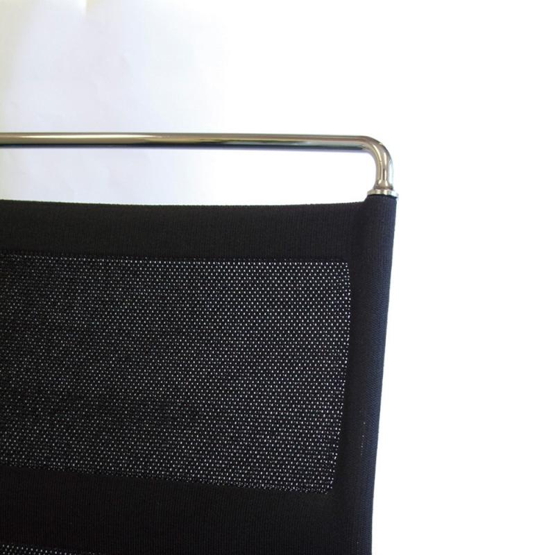 ミーティングチェア スタッキングチェア シルバー 塗装脚 キャスター付き 肘付き 背メッシュ ホワイト 布 | I-DMF51C-SJN