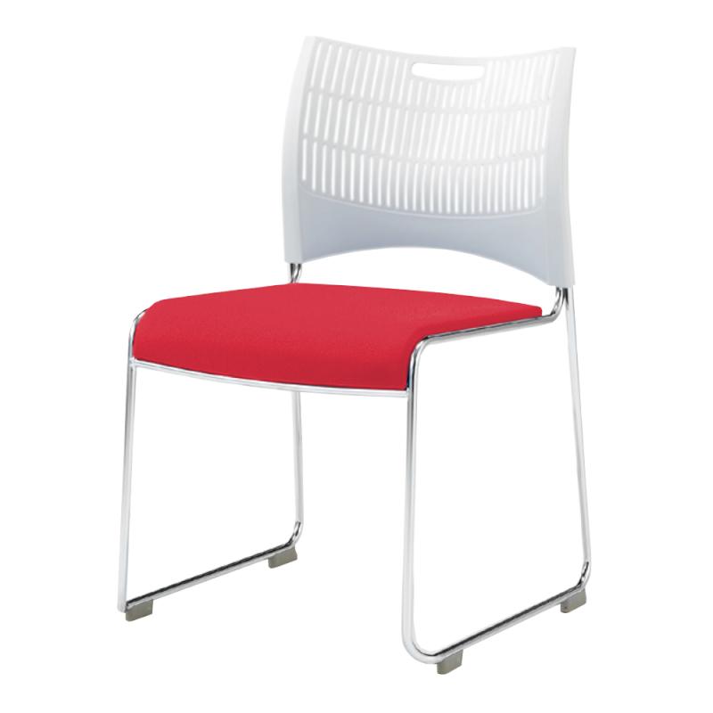 ミーティングチェア スタッキングチェア 会議用椅子 ループ脚 スチール メッキ脚 シェルグレー 布 | I-DMC20B-PYN