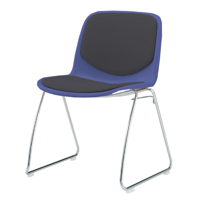 ミーティングチェア スタッキングチェア 学校教育用椅子 ループ脚 スチール メッキ脚 シェルブラック 上級布   I-DJR207-PXN