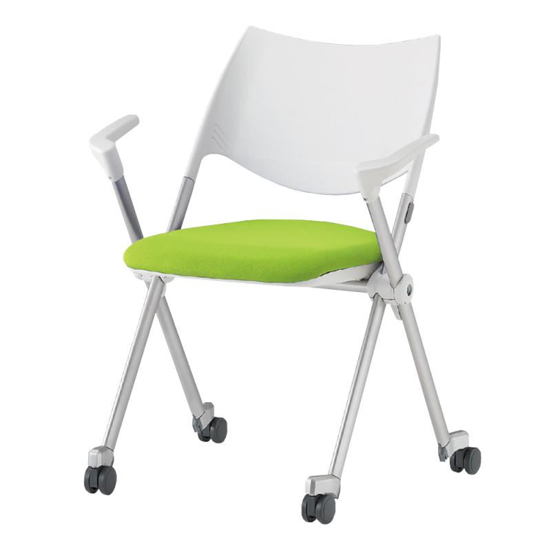 ミーティングチェア ネスティングチェア 会議用椅子 キャスター脚 スチール シルバー 塗装脚 キャスター付き 肘付き 布 | I-WSX-02CA-F