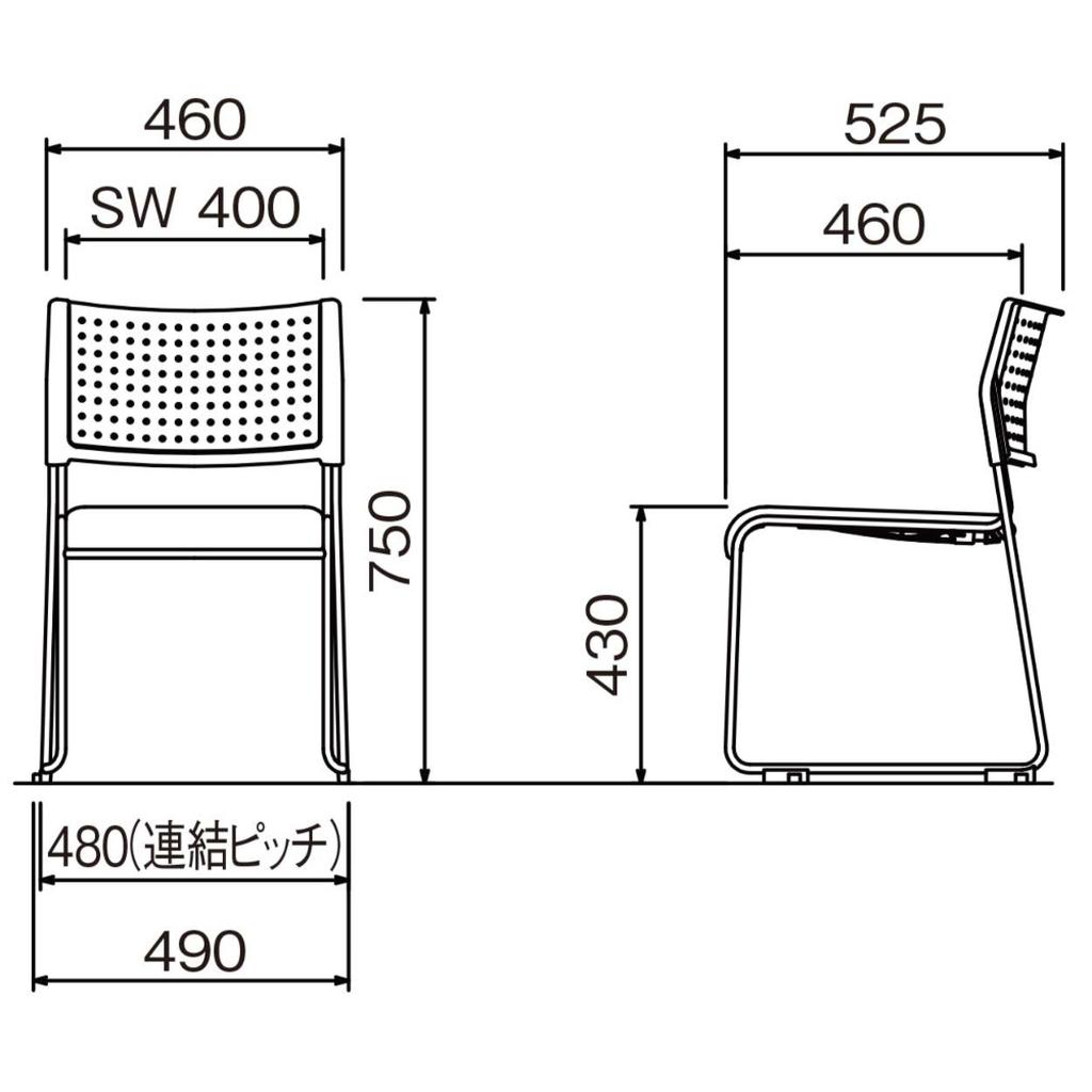 【ミーティングセット】 スタンダード ミーティングテーブル 幅180cm×奥行90cm + ミーティングチェア 6脚 | I-SOT-1890PK-天WND-脚G+LTS-110V×6