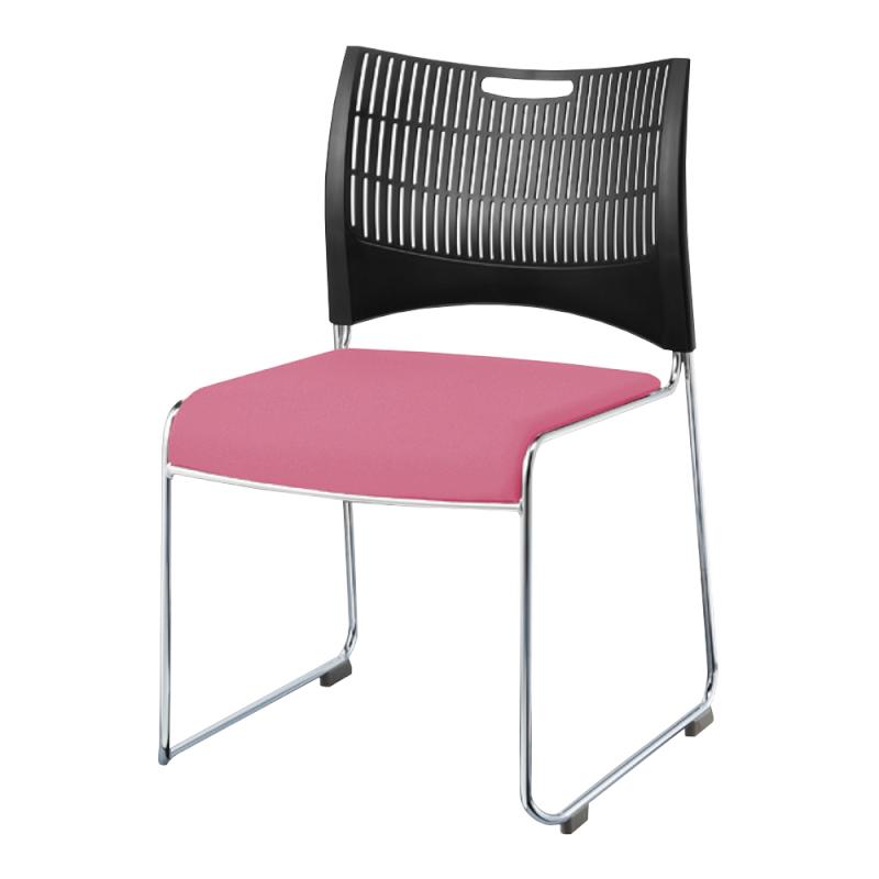 ミーティングチェア スタッキングチェア 会議用椅子 ループ脚 スチール メッキ脚 シェルブラック レザー   I-DMC22B-LYL