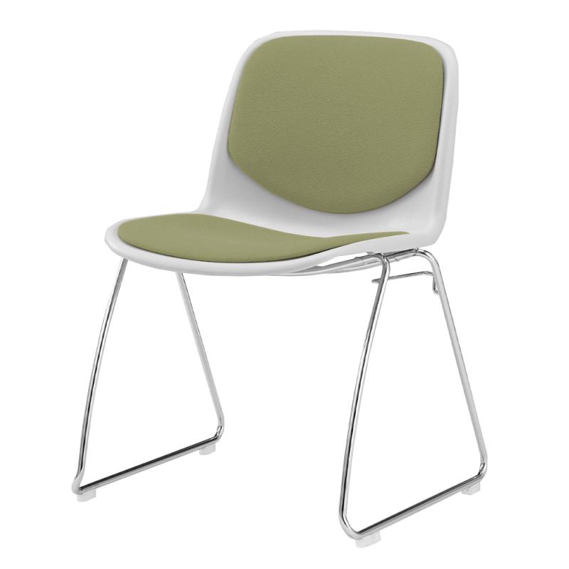 ミーティングチェア スタッキングチェア 学校教育用椅子 ループ脚 スチール メッキ脚 シェルブルー レザー | I-DJR208-LYL