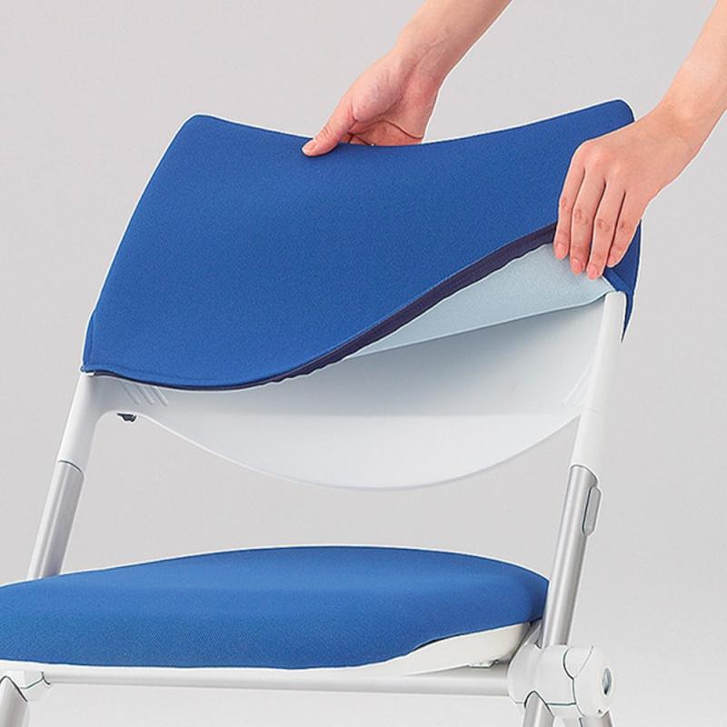 ミーティングチェア ネスティングチェア 会議用椅子 スチール シルバー 塗装脚 布 | I-WSX-03-F