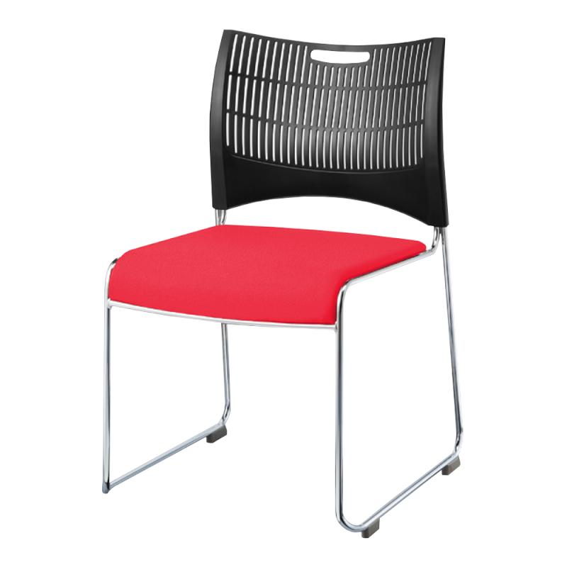 ミーティングチェア スタッキングチェア 会議用椅子 ループ脚 スチール メッキ脚 シェルブラック 布 | I-DMC22B-PYN