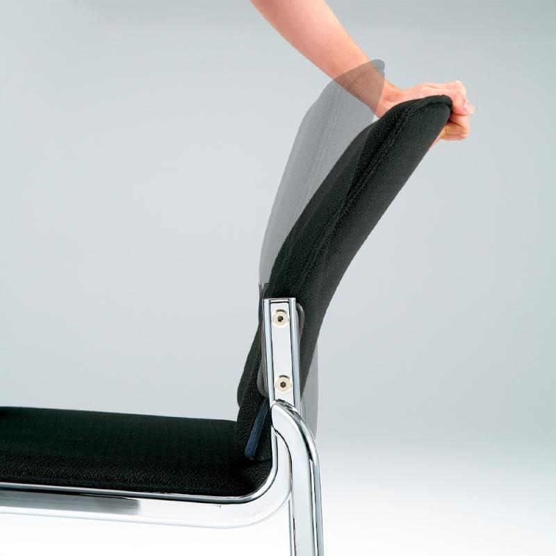 ミーティングチェア 応接用椅子 4本脚 スチール メッキ脚 布 | I-DMB20M-SJN