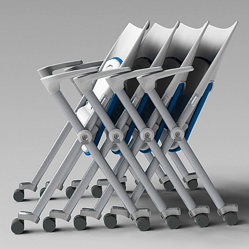 ミーティングチェア ネスティングチェア 会議用椅子 スチール シルバー 塗装脚 肘付き 布 | I-WSX-03A-F