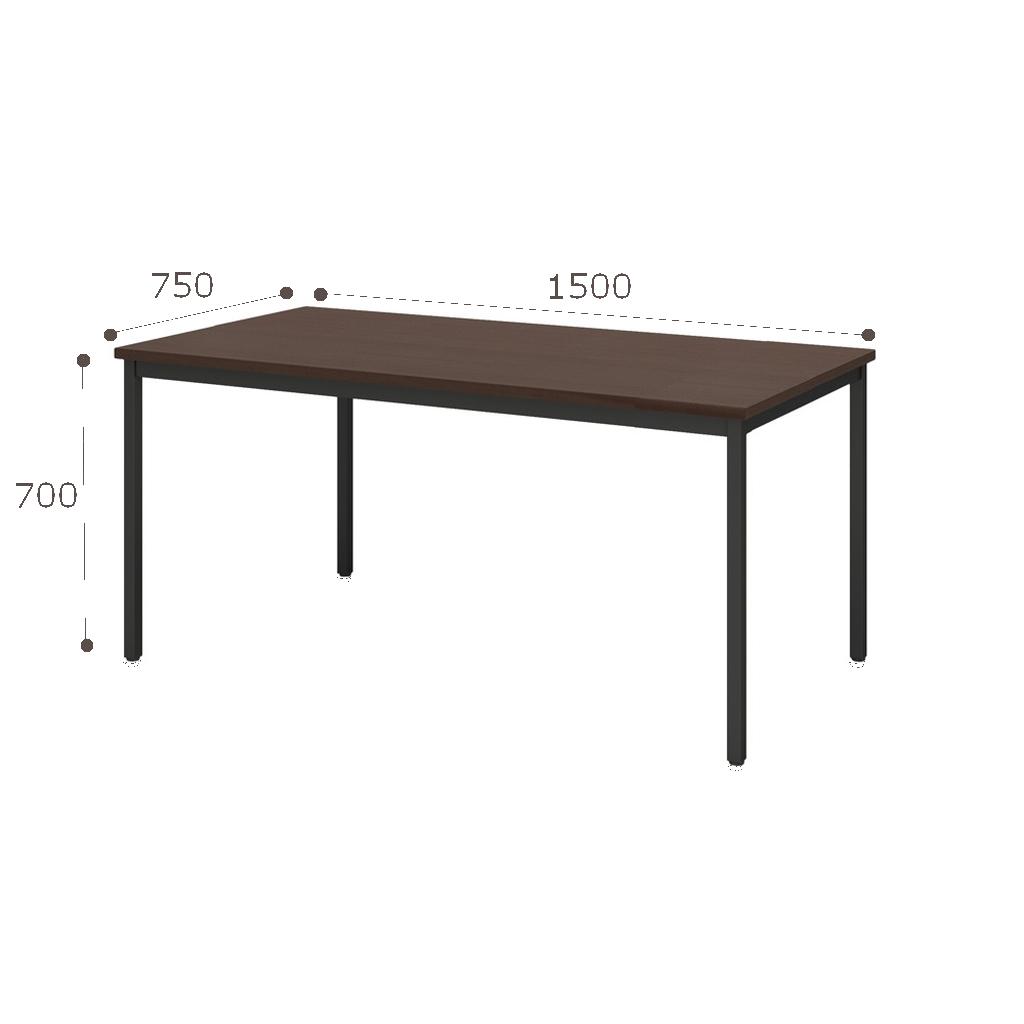 【ミーティングセット】 スタイリッシュ ミーティングテーブル 幅150cm×奥行75cm + ミーティングチェア 4脚 | I-SOT-1575PK-天ND-脚BK+LTS-4CB-F×4