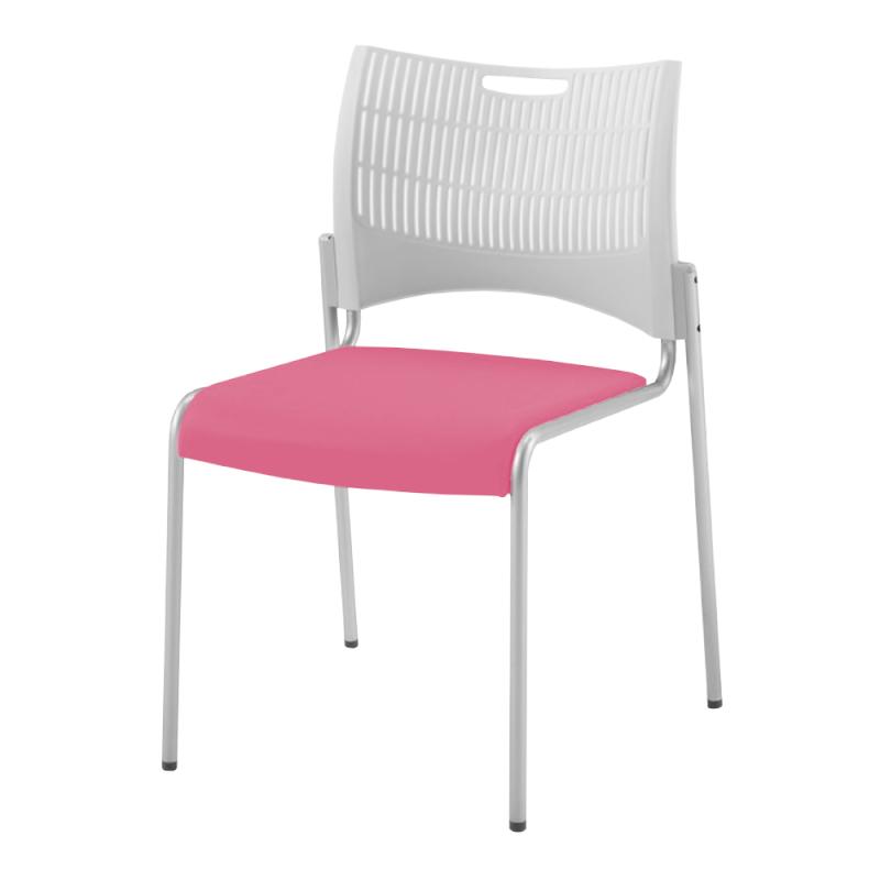 ミーティングチェア スタッキングチェア 会議用椅子 4本脚 スチール シルバー 塗装脚 シェルグレー レザー | I-DMC21-LYL