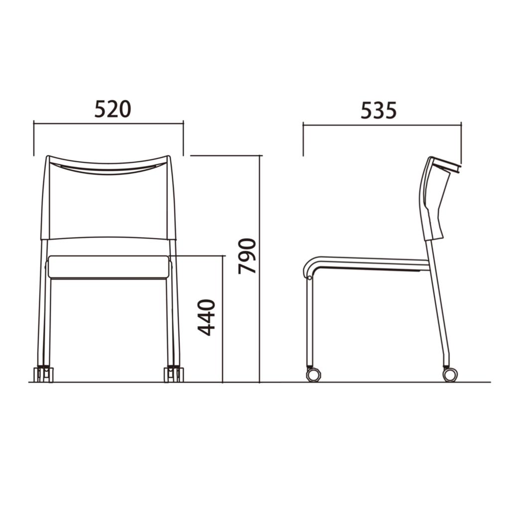 【ミーティングセット】 スタイリッシュ ミーティングテーブル 幅180cm×奥行90cm + ミーティングチェア 6脚 | I-SOT-1890PK-天ND-脚BK+LTS-4CB-F×6