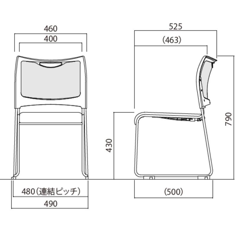 【ミーティングセット】 コンフォータブル ミーティングテーブル 幅2100cm×奥行90cm + ミーティングチェア 6脚 | I-SOT-2190-PKH-W+MCX-02DM-F×6