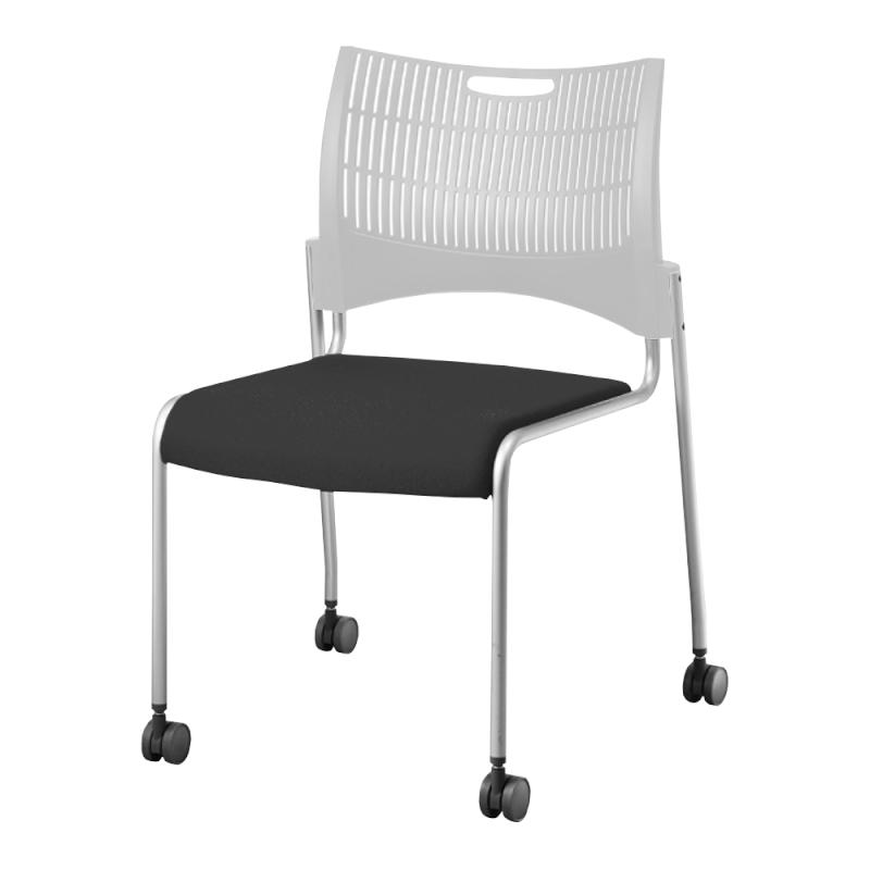ミーティングチェア スタッキングチェア 会議用椅子 4本脚 スチール シルバー 塗装脚 キャスター付き シェルグレー レザー | I-DMC21C-LYL