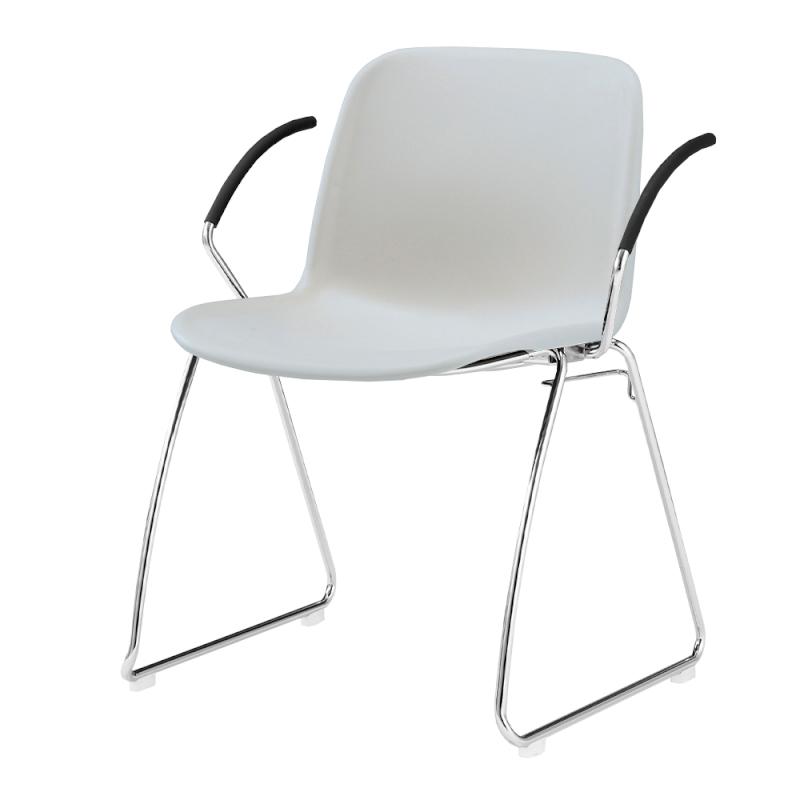 ミーティングチェア スタッキングチェア 学校教育用椅子 ループ脚 スチール メッキ脚 肘付き シェルライトグレー 樹脂 | I-DJR21L