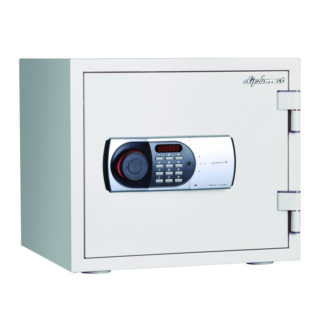 ディプロマット デジタルテンキー式 耐火耐水金庫 60分耐火 容量19L ホワイト 警報音付 | I-119EN88WR