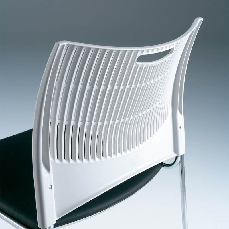 ミーティングチェア スタッキングチェア 会議用椅子 4本脚 スチール シルバー 塗装脚 シェルブラック レザー | I-DMC23-LYL