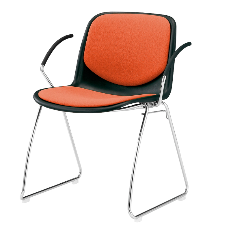 ミーティングチェア スタッキングチェア 学校教育用椅子 ループ脚 スチール メッキ脚 肘付き シェルブルー 上級布   I-DJR211-PXN
