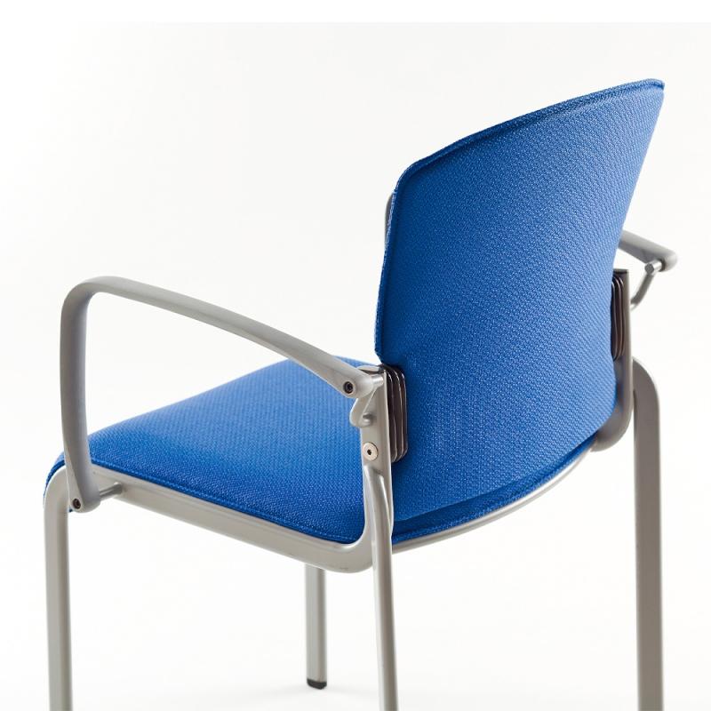 ミーティングチェア 応接用椅子 4本脚 スチール シルバー 塗装脚 肘付き レザー | I-DMB31G-LYL