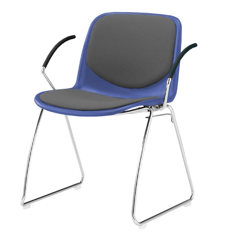 ミーティングチェア スタッキングチェア 学校教育用椅子 ループ脚 スチール メッキ脚 肘付き シェルライトグレー レザー | I-DJR217-LYL